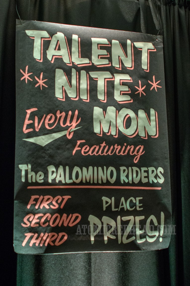 "Poster reading ""Talent Nite Every Mon Featuring The Palomino Riders First Second Third Place Prizes"""