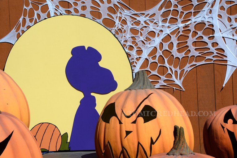 A silhouette of Snoopy is against a painted moon behind large carved fake pumpkins.