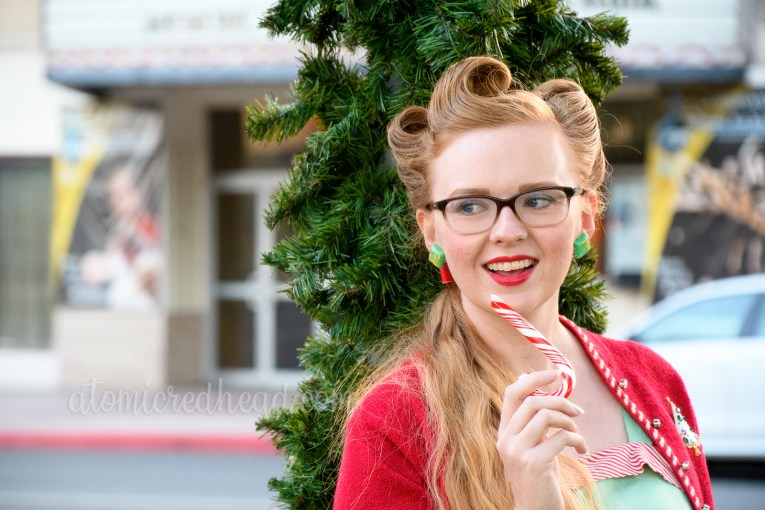 Myself holding one of the candy canes.