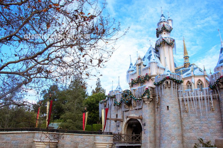 Sleeping Beauty Castle, covered in snow and icicles - fake of course!