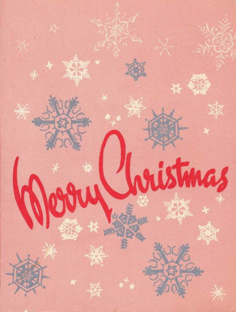"A pink background with silver and white snowflakes, in red script font it reads ""Merry Christmas"""