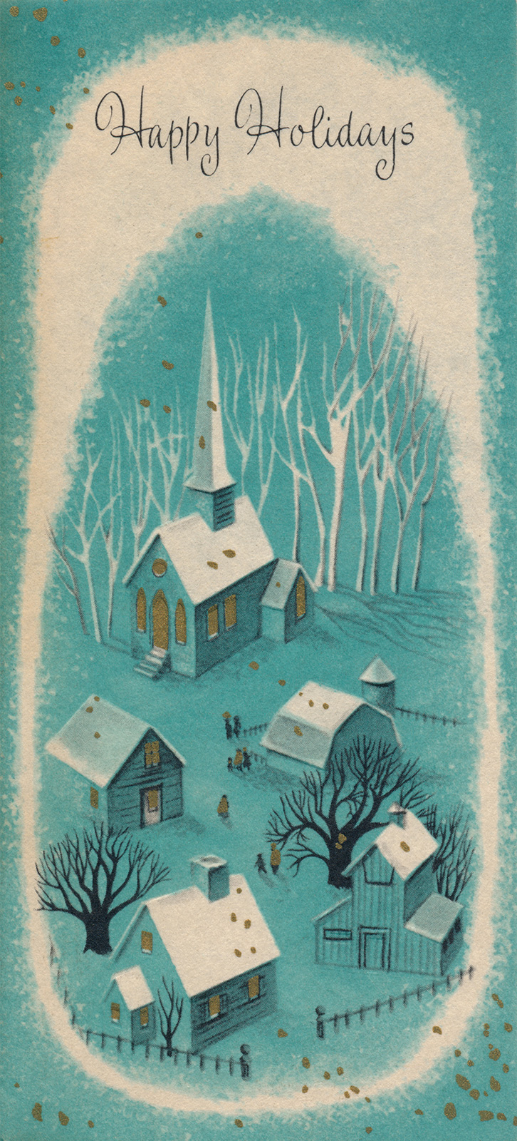 "A turquoise card features a small village with snow capped roofs, and white, leafless trees. Above it reads ""Happy Holidays"""