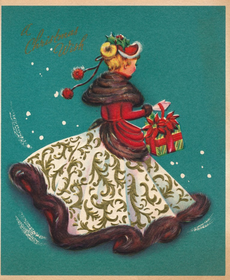 "A turquoise background, in the middle a woman dressed in a white dress skirt, red top, and brown fur. She carries presents. Above it reads ""A Christmas Wish"""