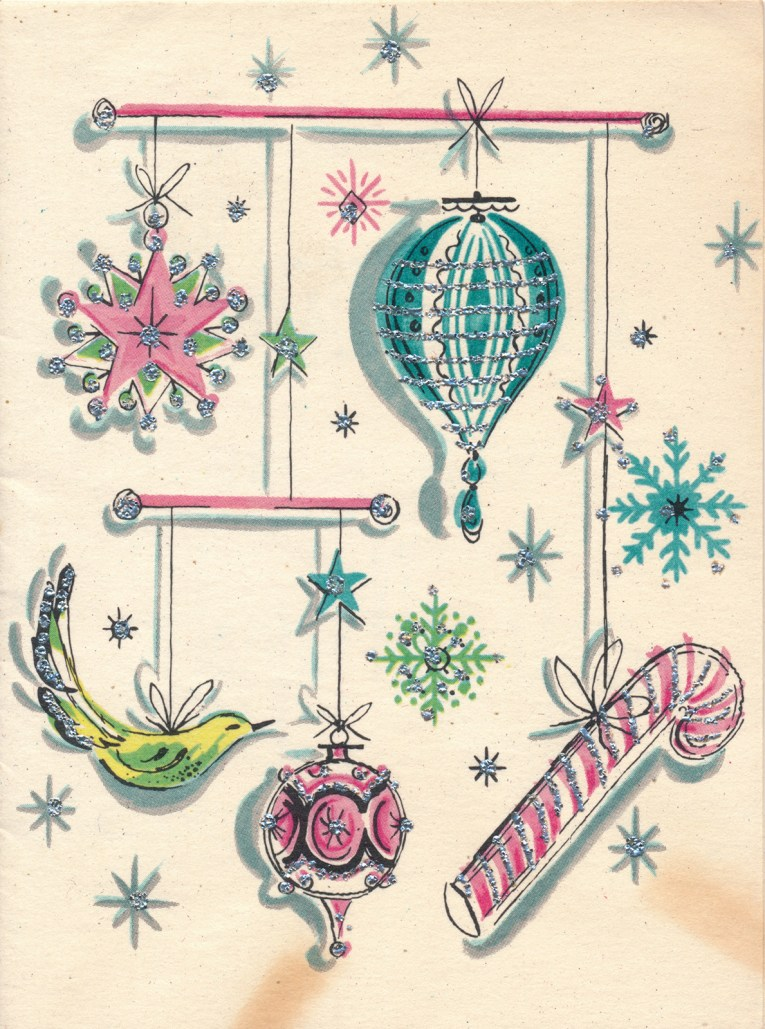 A white card features a pink star, turquoise ornament, a green bird, a pink ornament, and a pink candy cane.
