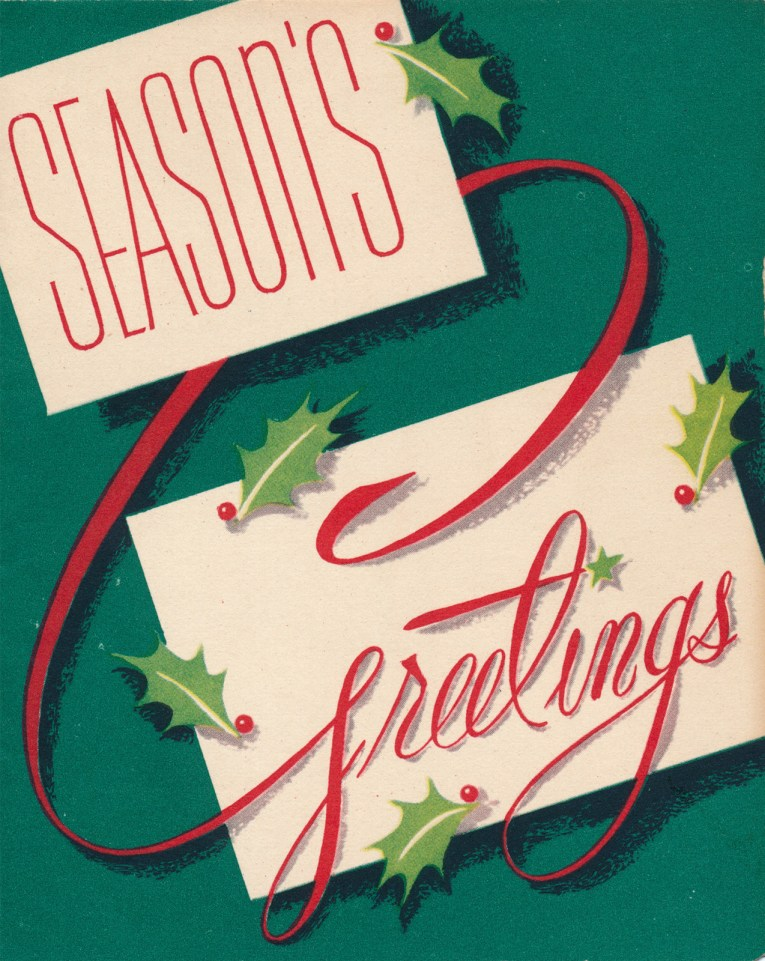 """A green background features two white rectangles, each feature a word, and it reads """"Season's Greetings"""" and small bits of holly surround the boxes."""