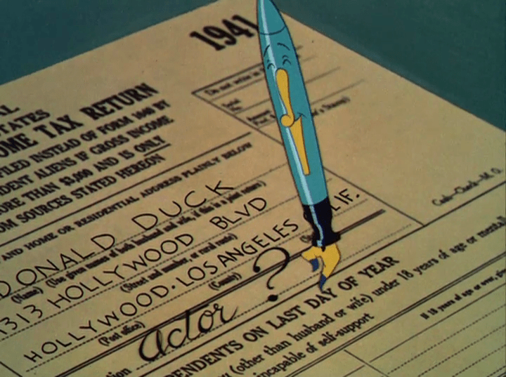 "Donald's pen fills out the tax form for him, reading that Donald lives at 1313 Hollywood Blvd., Hollywood, California, and that he is an ""Actor?"""