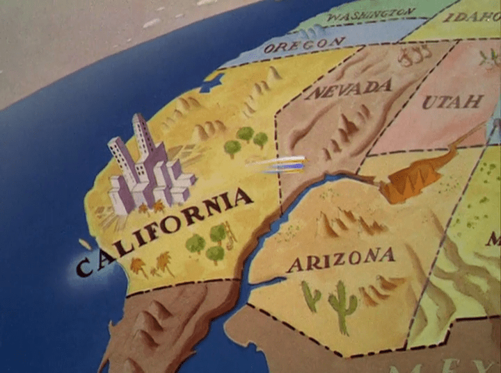 A map of the western half of the US, and a white and blue blur that is Donald Duck rushes eastward.