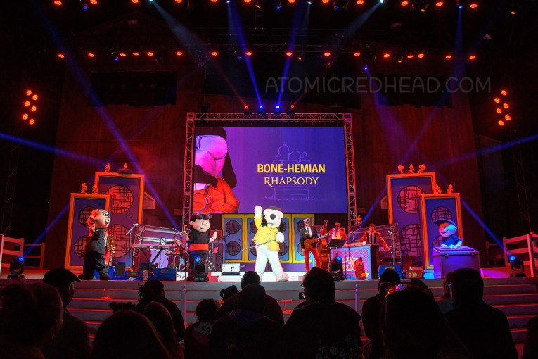 "Snoopy appears on stage as "" Fido Mercury"""