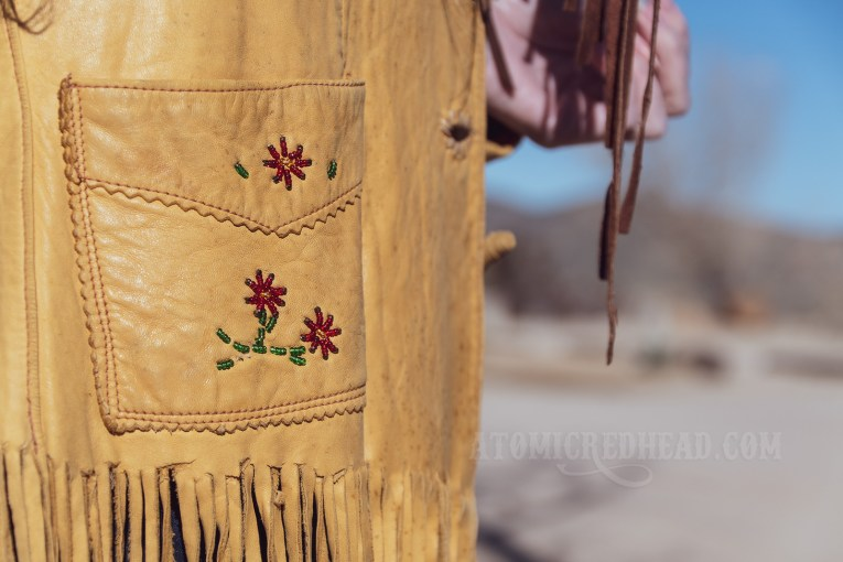 Close up of the flower bead detail on the pocket of my jacket.