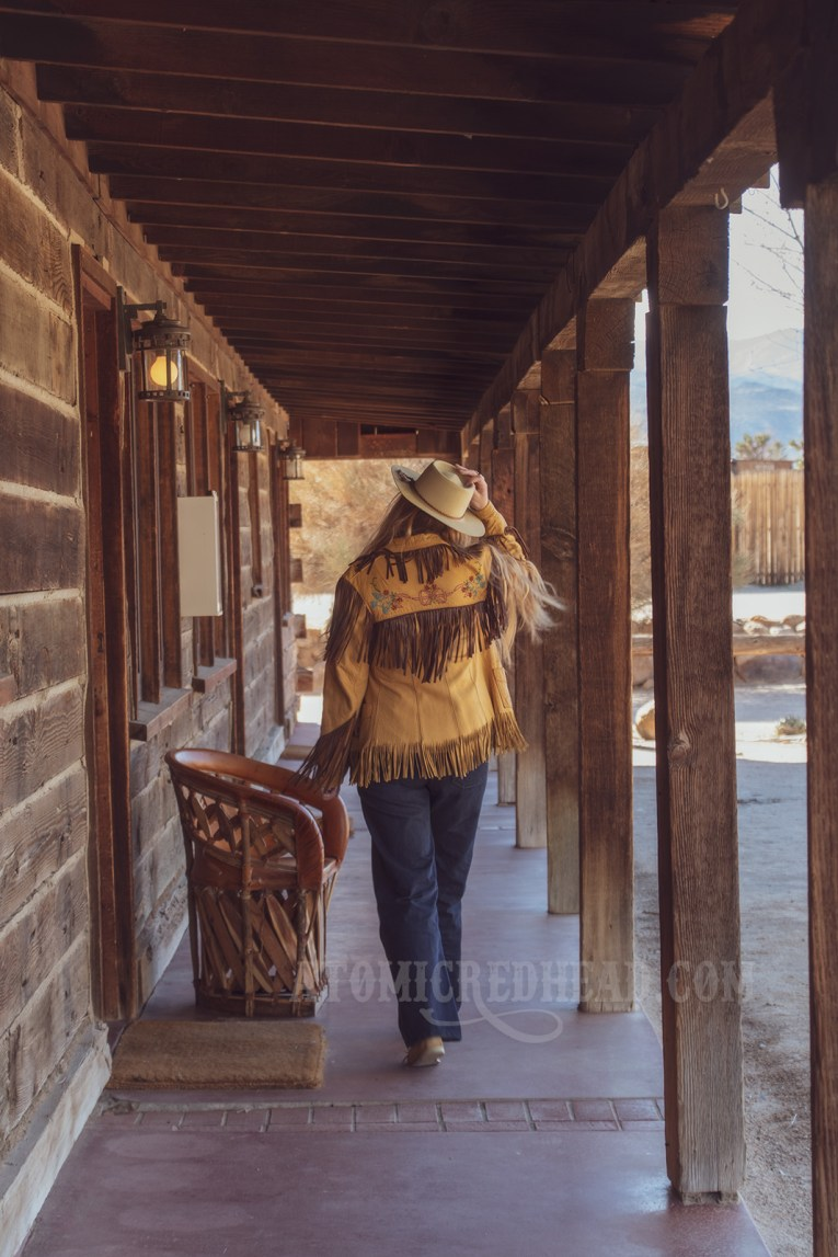 Myself walking down the covered walkway of the motel.