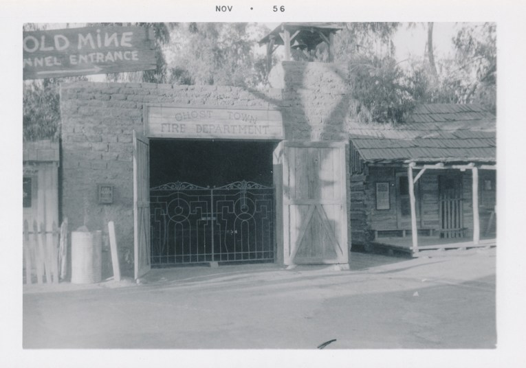 A black and white photo of the Ghost Town Fire Department building