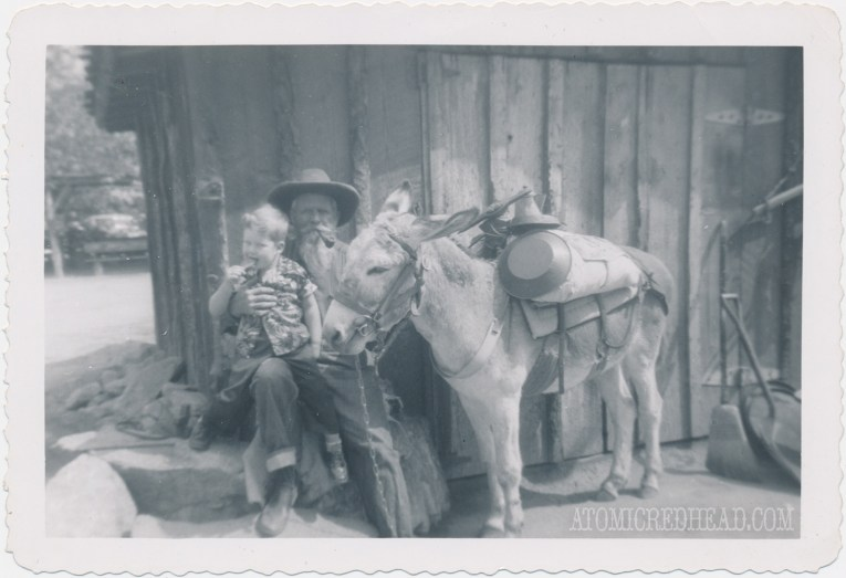 A black and white photo of my dad as a child in front with an old miner and his donkey loaded with mining equipment.