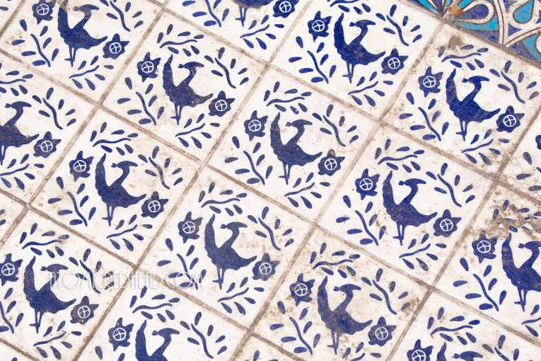 Close-up of the tile work at the bottom of the fountain, which is white with blue birds and flowers.
