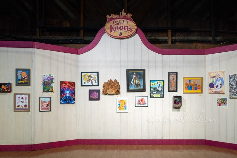 "The art show, titled ""Tied Up In Knott's"" features images of various Knott's Berry Farm icons and attractions."