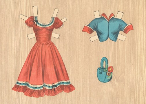 An ensemble for Dale Evans: A red square dancing dress with blue and white trim at the neck and hem, a blue bolero jacket is an option, along with a blue basket style purse.