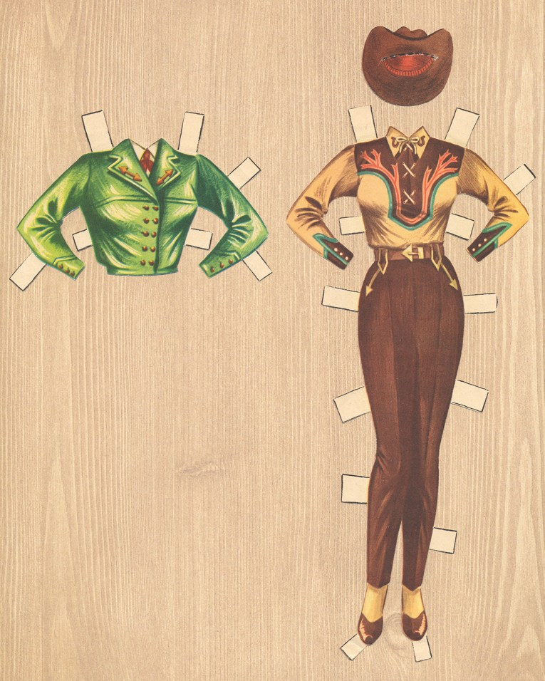 An ensemble for Dale Evans: A brown and tan western wear shirt and brown western slacks with a matching brown hat. An added option is a shirt, cropped green jacket.