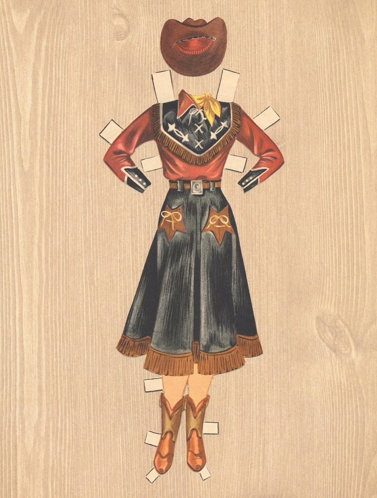 An ensemble for Dale Evans: A red and black western wear shirt with arrows embroidered at the yoke. A black skirt with brown fringe at the hem, brown boots, and brown hat.
