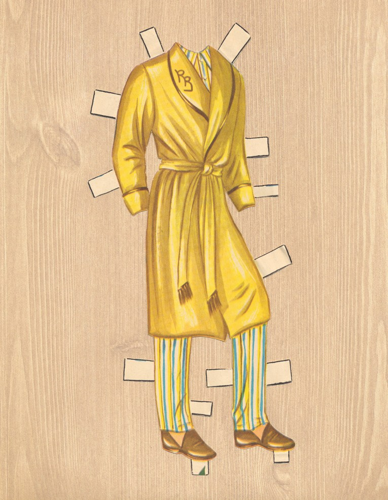"An evening look for Roy, a yellow bathrobe with ""RR"" embroidered on the lapel."