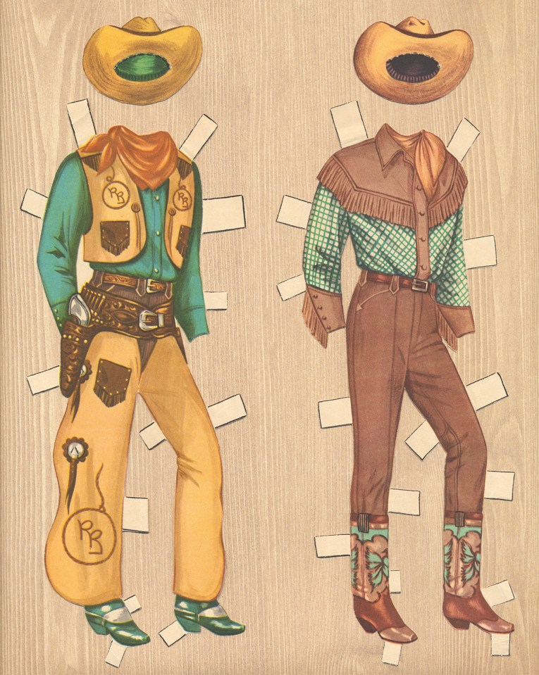 Two ensembles for Roy Rogers: A turquoise blue shirt worn under a butter yellow vest with brown pants and butter yellow chaps, and yellow hat. The other is a blue western shirt with brown yoke, matching brown pants, and tan hat.