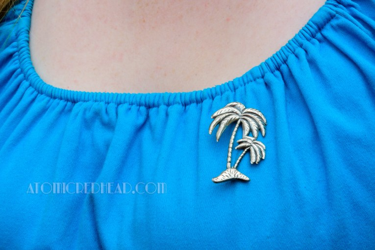 Close up of my sterling palm tree brooch.