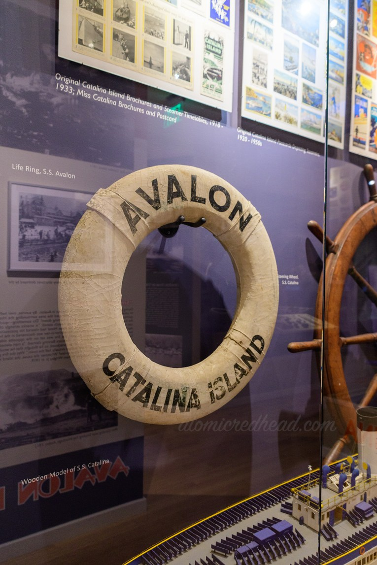 "Life ring from the SS Avalon. White ring with black text that reads ""Avalon Catalina Island"""