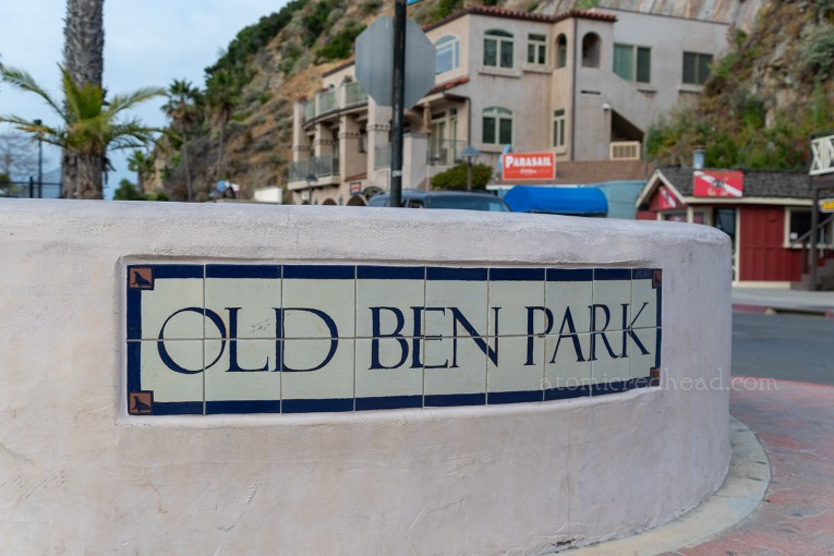 "Close up of the tile reading ""Old Ben Park"""