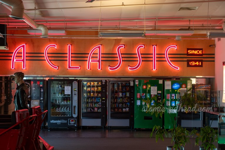 "Large pink neon letters spell out ""A Classic"" inside Looff's Lite-A-Line."
