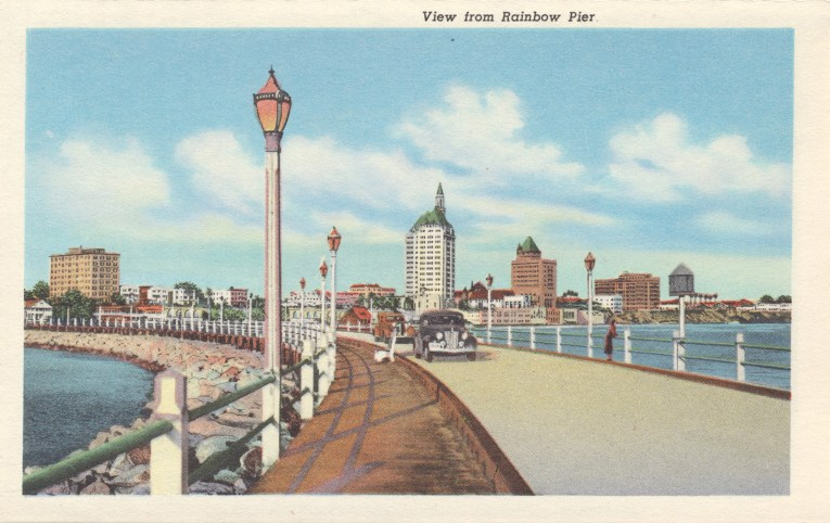 Postcard of a view toward the coast from the Rainbow Pier.