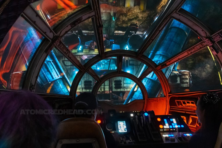 Inside the cockpit of the Millennium Falcon.