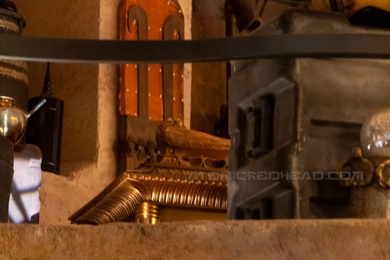 The Ark of the Covenant tucked behind a cargo crate within the antiquities shop.