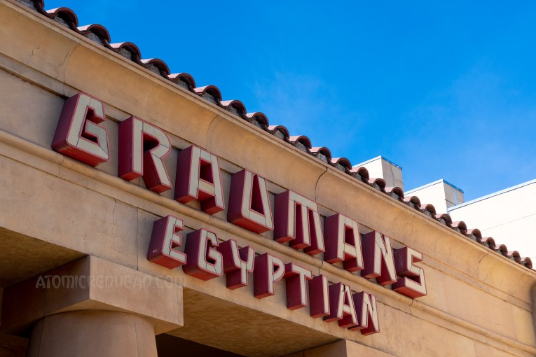 "Lighted letters read ""Grauman's Egyptian"""
