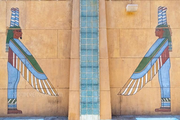 Mural of winged Egyptian gods.