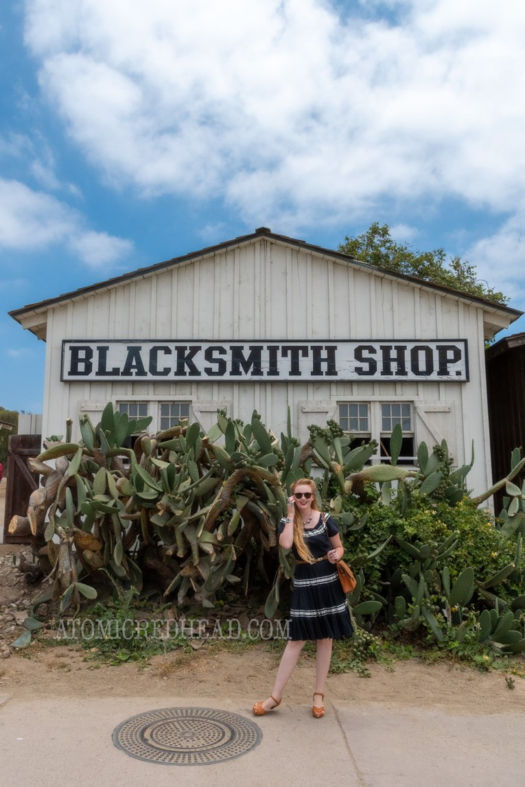 Myself standing in front of the blacksmith shop, where a giant prickly pear cactus resides, wearing a black dress with silver trim.