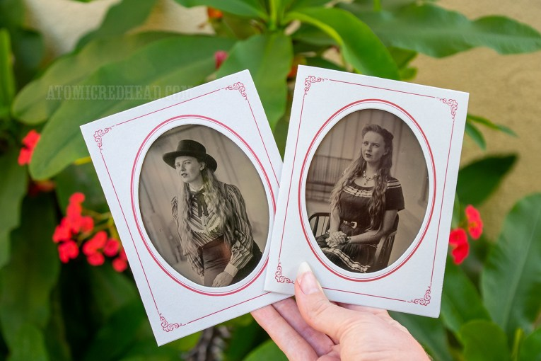 My tintype portraits. One of me in western attire, the other of my in a patio dress.