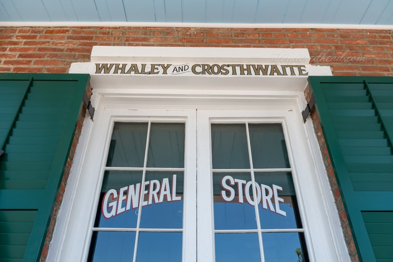 "One window of the home features text reading ""Whaley and Crosthwaite General Store"""