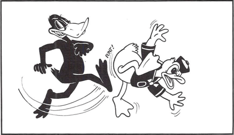 An illustration of a Daffy Duck looking character kicking Donald Duck's butt.