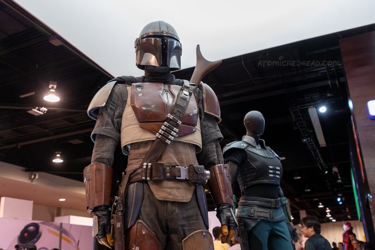The bounty hunter costume from the upcoming Disney+ series, The Mandalorian. A brown, gold, and cream armor outfit of the Star Wars universe.