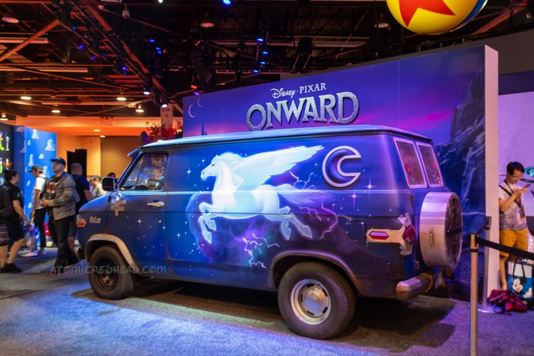 The van from the upcoming Pixar film Onward. The van features a mural of a white pegasus and a moon shaped window.