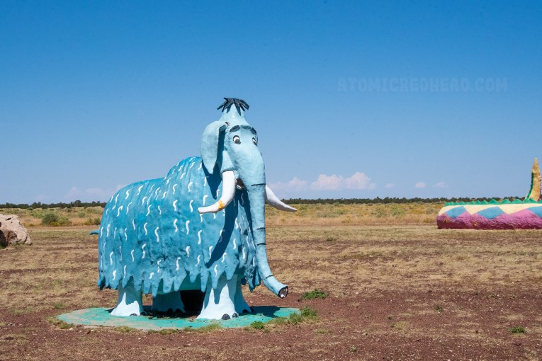 A blue woolly mammoth statue.