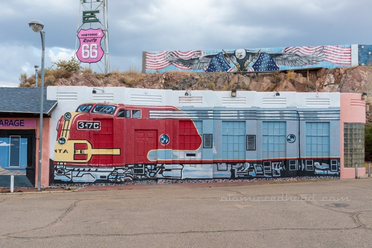 A building painted to look like a train.