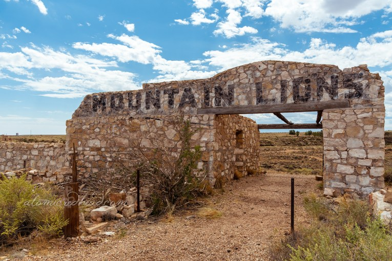 "A hollowed out stone structure reads ""Mountain Lions"" in massive, faded black text."