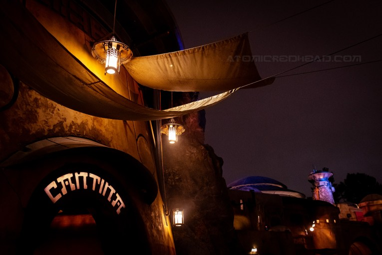 The Cantina lit up at night.