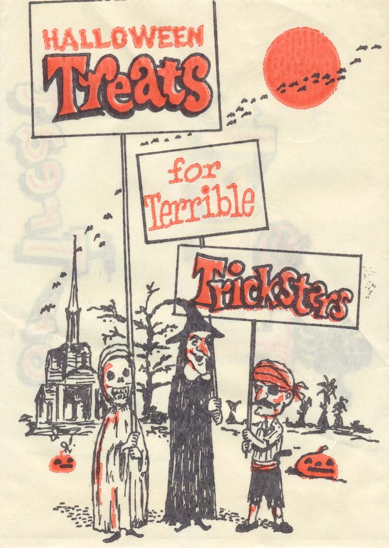 "A robed skeleton, a witch, and a pirate stand in front of an old steepled church, each hold a sign that reads ""Treats for Terrible Tricksters"""