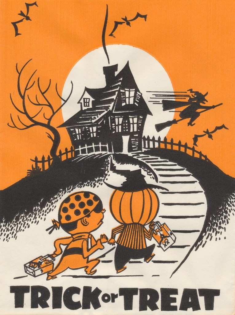"A pirate and a scarecrow walk up a pathway to a house, as a witch flies on a broom in front of the moon. Black text reads ""Trick or Treat"""