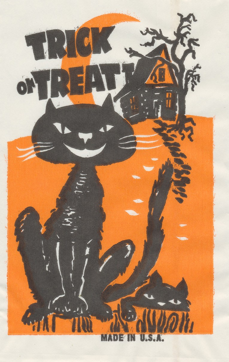 "A black cat sits in front of a spooky looking house. Black text reads ""Trick or Treat"""