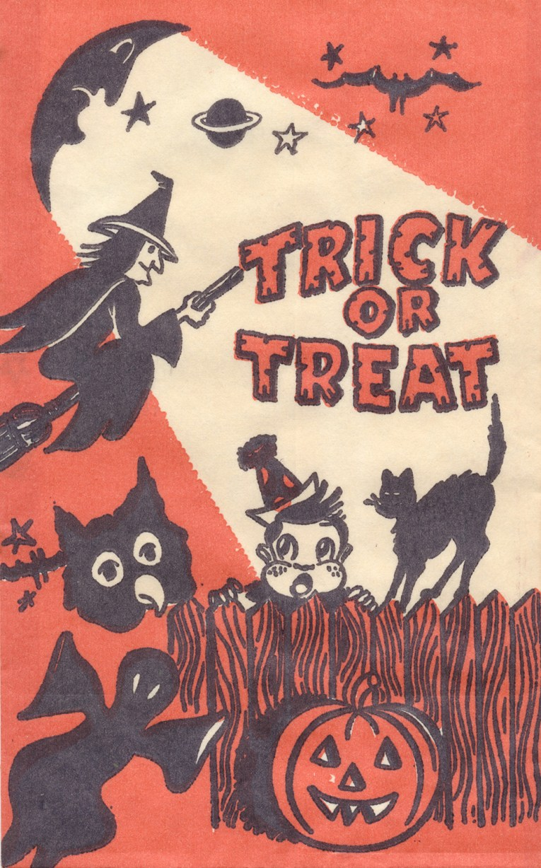 "A witch flies cross the sky, as a child in a clown costume peeks over a fence, and a black cat walks across it. Orange and black text reads ""Trick or Treat"""