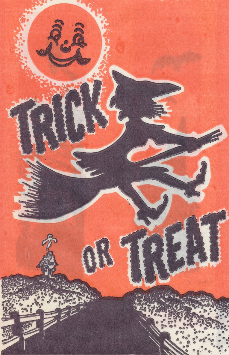 "A witch flies over a country road. Black text reads ""Trick or Treat"""