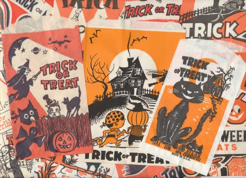 A collage of the various trick or treat bags.