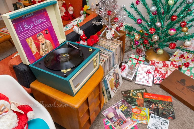 "Close-up of the record player which plays ""A Liberace Christmas"""