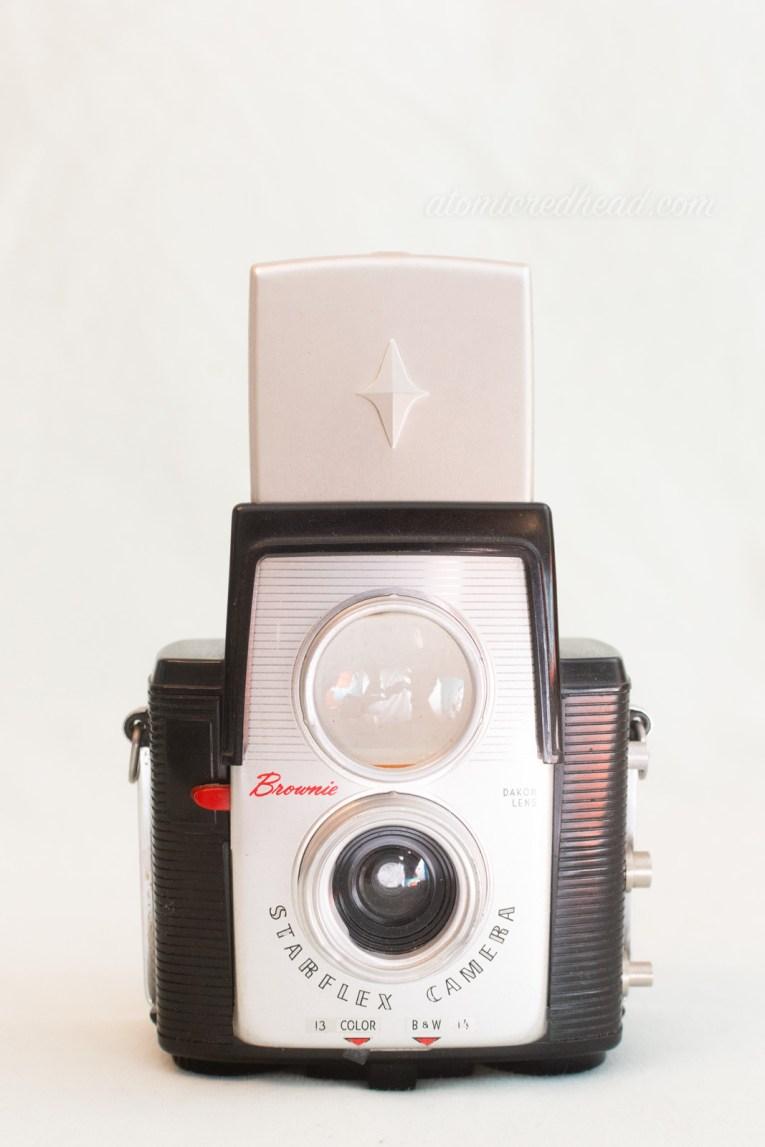 Kodak Brownie Starflex. A black and silver dual lens camera.